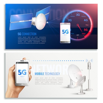 Mobile technology horizontal banners with realistic icons illustrated broadband internet connection of 5g standard