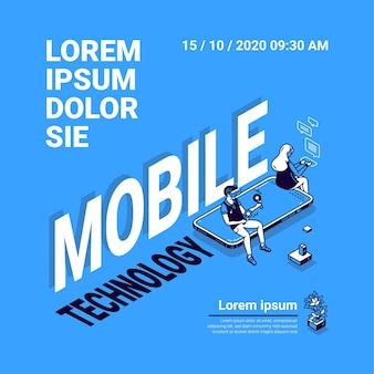 Плакат мобильных технологий. концепция интернет-технологий, цифровых систем и онлайн-сервисов для смартфона. v