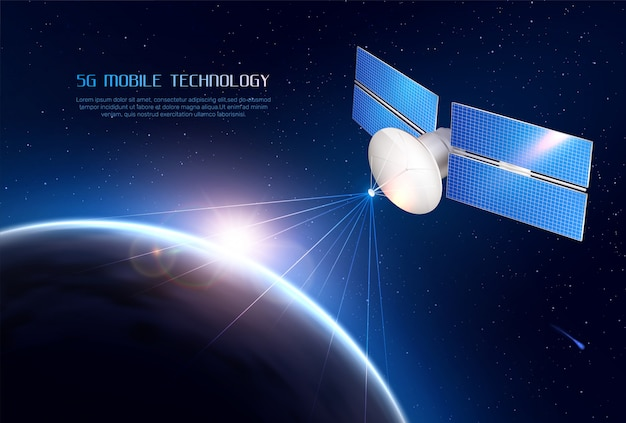 Mobile technology realistic  with communications satellite in space sending signal to different points of earth