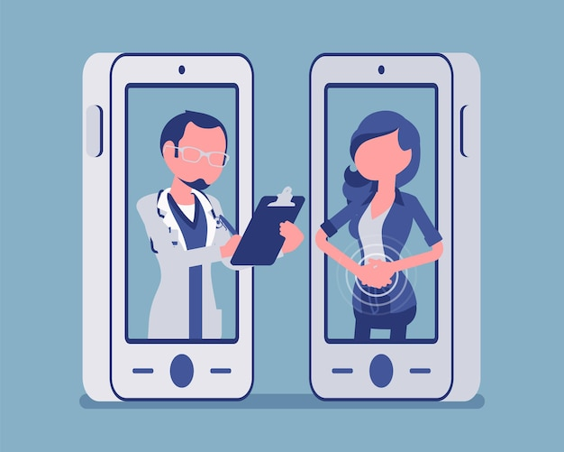 モバイル遠隔医療スマートフォンアプリケーションと男性医師。医療サービス、患者の遠隔専門家による相談を管理する便利なモバイルデバイスツール。ベクトルイラスト、顔のない文字