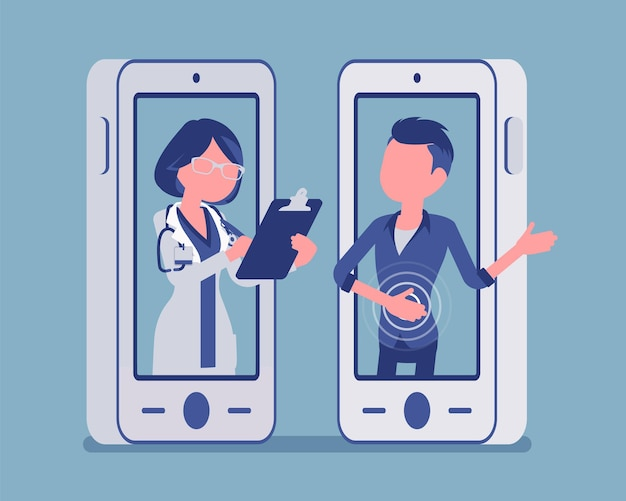 モバイル遠隔医療スマートフォンアプリケーション、女性医師。医療サービス、患者の遠隔専門家による相談を管理するための便利なモバイルデバイスツール。ベクトルイラスト、顔のない文字