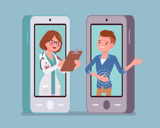 Мобильное приложение для смартфонов телемедицины, женщина-врач
