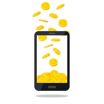 ゴールドコインの山が白い背景で隔離の携帯電話。現金お金のヒープ、黄金のコインを落下。商業銀行、フラットスタイルのファイナンスの概念