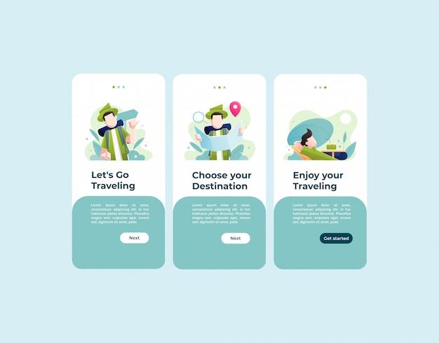 Мобильное шаблонное приложение для путешествий простой и минималистичный
