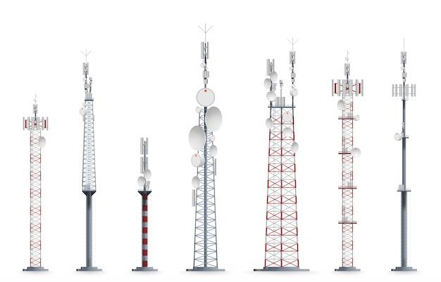 모바일 타워. 전송 셀룰러 우뚝 솟은 건축 그림.