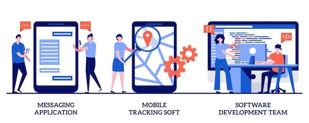 Программное обеспечение для мобильного отслеживания, концепция команды разработчиков программного обеспечения с иллюстрацией крошечных людей