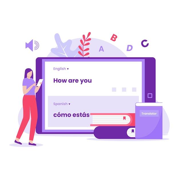 모바일 번역기 일러스트레이션 컨셉 디자인입니다. 웹사이트, 방문 페이지, 모바일 애플리케이션, 포스터 및 배너용 일러스트레이션