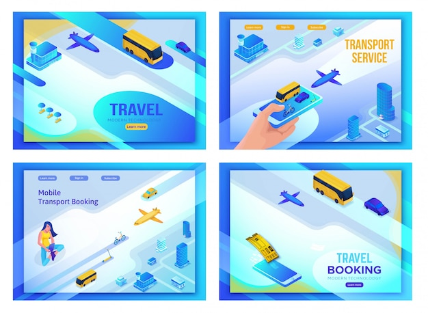 Mobile transportation 3d isometric set