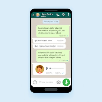 Mobile ui kit chat app template messenger