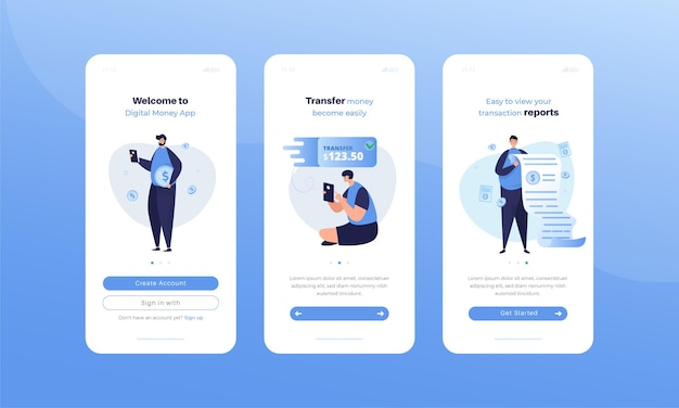 Mobile ui kit with digital money application illustration set