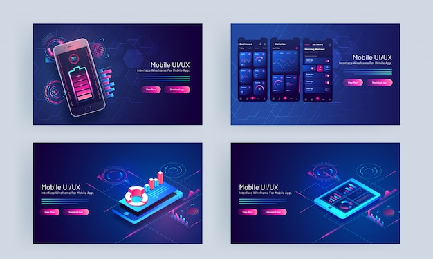 Mobile ui/ux concept based landing page set with smartphone and infographic elements on blue