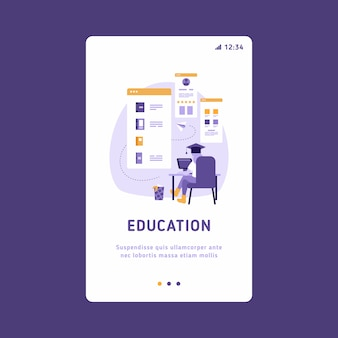 Mobile ui ux gui template, app interface wireframe. e-learning concept illustration of woman using laptop and tablet pc for distance studying and education.