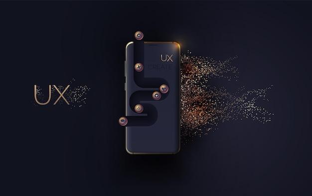 모바일 ui ux korbon 및 골드 컨셉