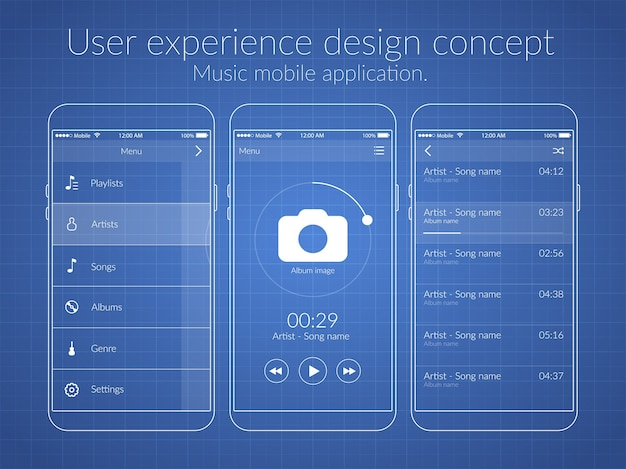 Mobile user experience design concept with different screens and web elements