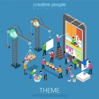 Mobile user interface theme ui/ux customization isometric concept. people painting changing interface on phone tablet
