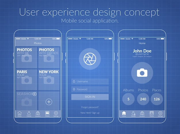 Mobile ux design concept with screens icons and web elements for social application illustration