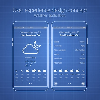 Mobile ux design concept with two screens icons and web elements for weather application illustration