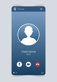 Интерфейс мобильного видео чата. окно видео-звонка пользователя. концепция социальных медиа, удаленного общения, видео контента. современная векторная иллюстрация.