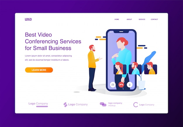 Mobile video conference illustration concept for website or landing page