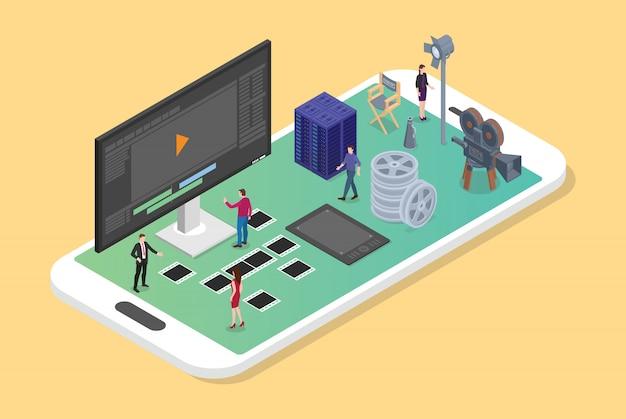 Мобильное редактирование видео и производство на смартфоне с различным набором фильмов производства