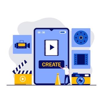 모바일 비디오 편집 앱, 멀티미디어 제작, 캐릭터가있는 비디오 블로깅 개념. 사람들은 스마트 폰을 사용하여 영화를 만듭니다.