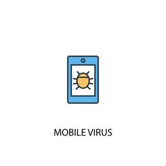 Концепция мобильного вируса 2 цветной значок линии. простой желтый и синий элемент иллюстрации. мобильный вирус концепция наброски символ дизайн