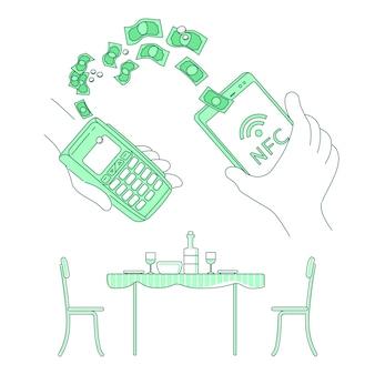 携帯財布、eコマースの細い線の概念図。レストランサービス、webデザインのためのスマートフォン2 dの漫画のキャラクターで請求書を支払う人。 nfc、エペイシステムの独創的なアイデア