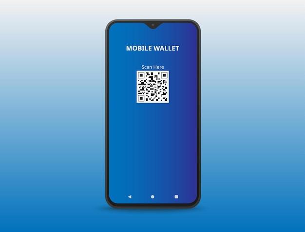 Мобильный кошелек, хранящийся в смартфоне на синем фоне