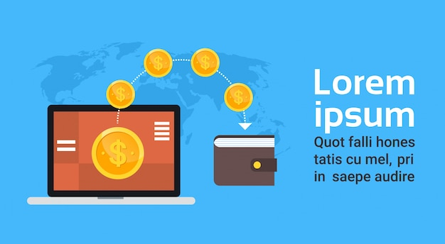 Mobile wallet technology digital money transaction and e-commerce concept world map template