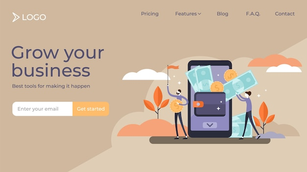 Mobile wallet tiny persons vector illustration landing page template design