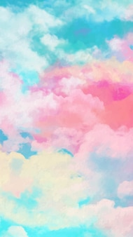 Mobile wallpaper with watercolor sky