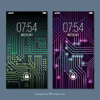 Mobile wallpapers with luminous circuit