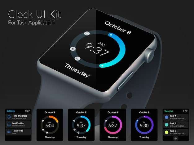 Mobile watch ui kit design concept for task application flat illustration