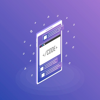 Mobile web development , mobile app . modern flat isometric style illustration