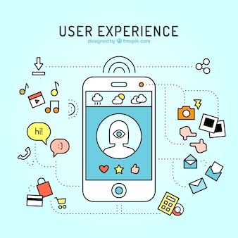 Mobile and web elements of user experience in linear style