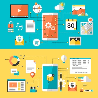 フラットデザインのモバイルウェブサイトとアプリのデザイン