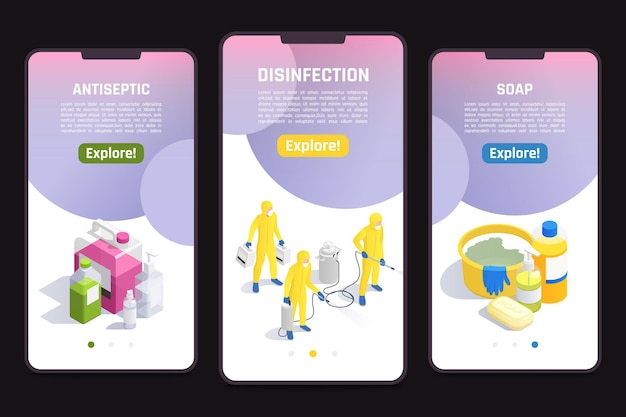 Mobile website templates set with products for sanitizing and disinfection illustration