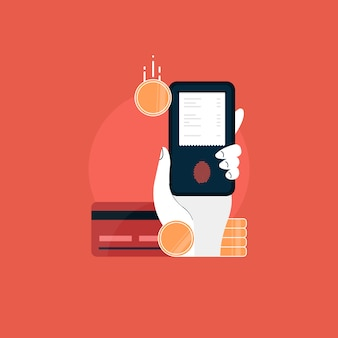 전자 송장으로 모바일. 온라인 결제 개념. 카드, 인터넷 뱅킹 및 전자 지갑을 통한 인터넷 지불 및 지불 영수증
