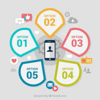 Mobile with infographic elements