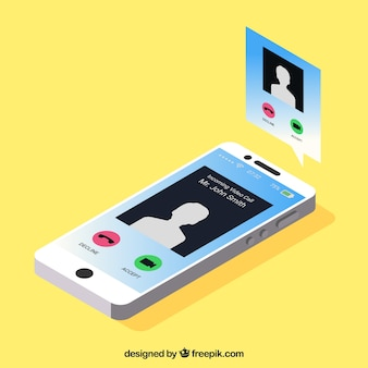 Mobile with notification in isometric style