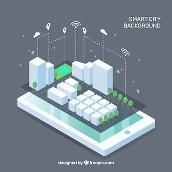 Mobile with smart city in isometric style