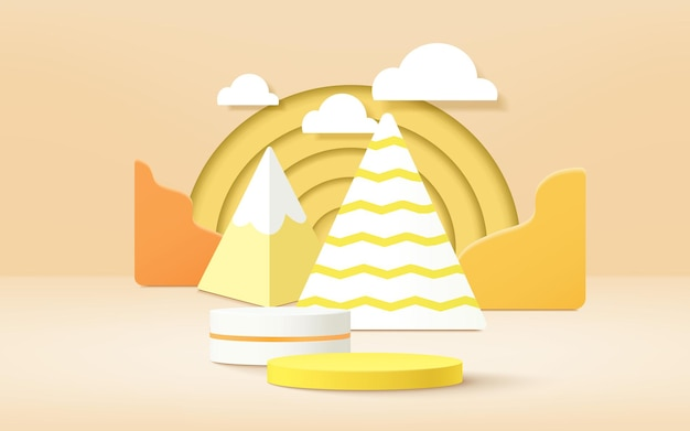 Mobile3d product podium, pastel color background, clouds, weather with empty space for kids or baby product.