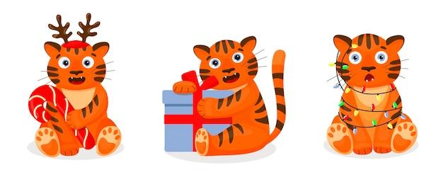 호랑이 고양이 모빌 세트. 만화 크리스마스 삽화