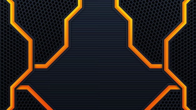 Mobileabstract 3d black technology background overlap layers on dark space with orange light effect decoration. modern graphic design template elements for poster, flyer, brochure, or banner