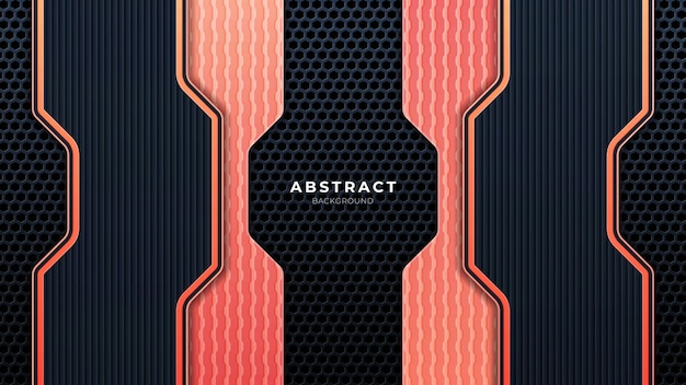 Mobileabstract metallic perforated technology background with orange lines. black frame layout modern tech design template. trendy gradient shapes composition. eps 10 vector