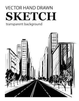 Mobilecity 거리. 대도시. 도시 그림. 손으로 그린 된 스케치.