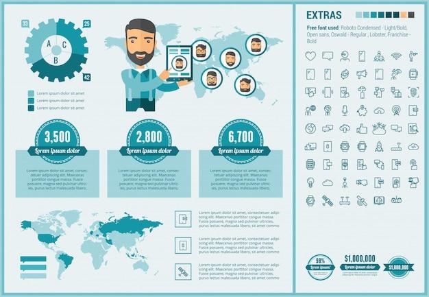 Мобильный плоский дизайн инфографики шаблон и набор иконок