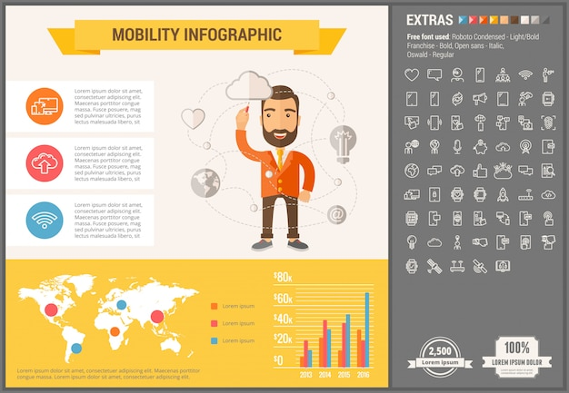 Mobility flat design infographic template and icons set