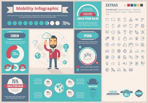 Мобильность плоский дизайн шаблона инфографики