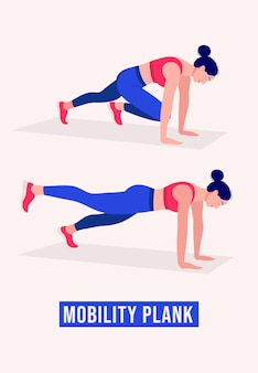 Mobility plank exercise woman workout fitness aerobic and exercises